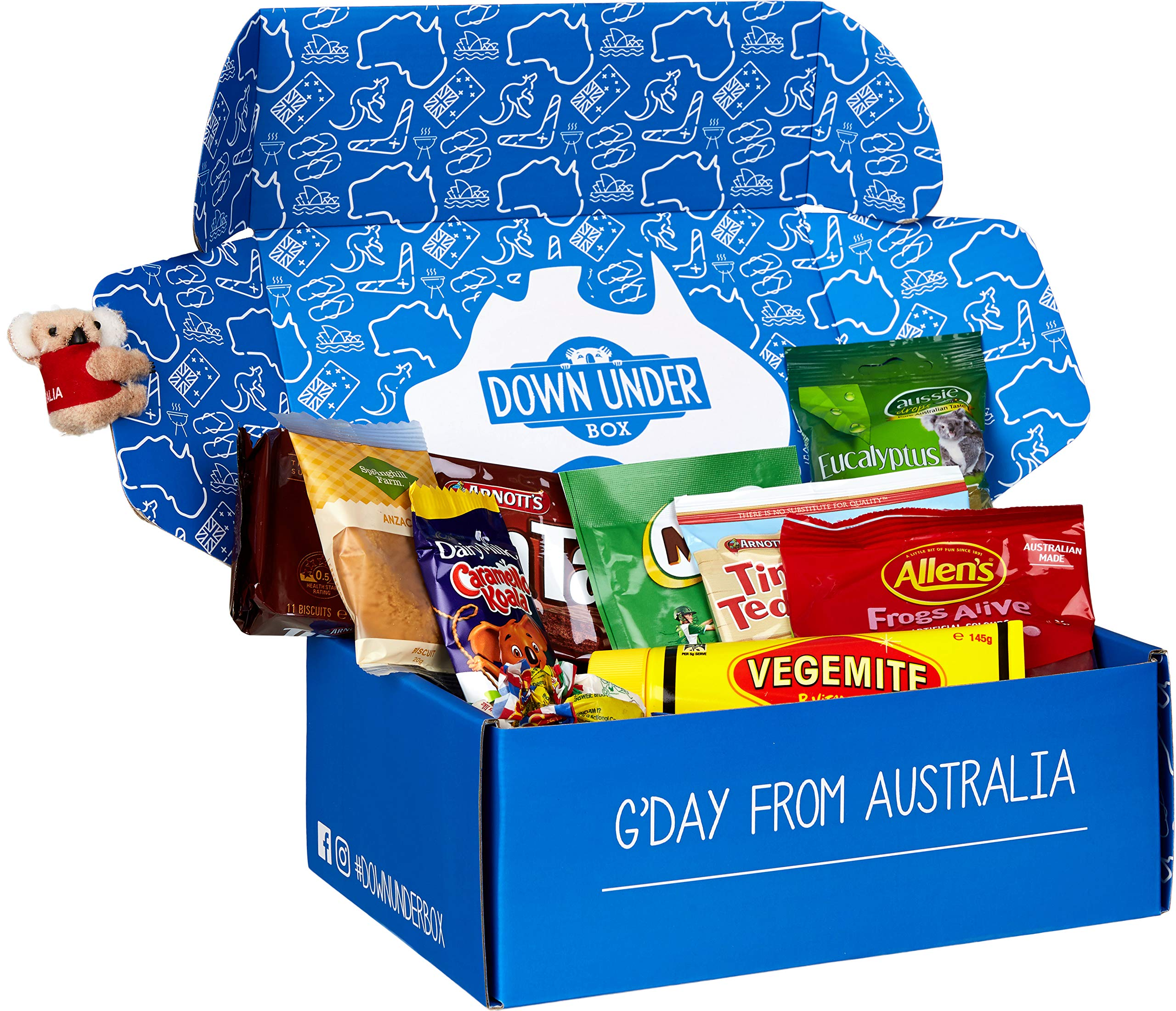 Down Under Box Australian Classics Gift Box - Tim Tam, Vegemite, Milo, Allen's Red Frogs, Tiny Teddies, Caramello Koala, Anzac Biscuit, Eucalyptus Drops, Fantales and Minties