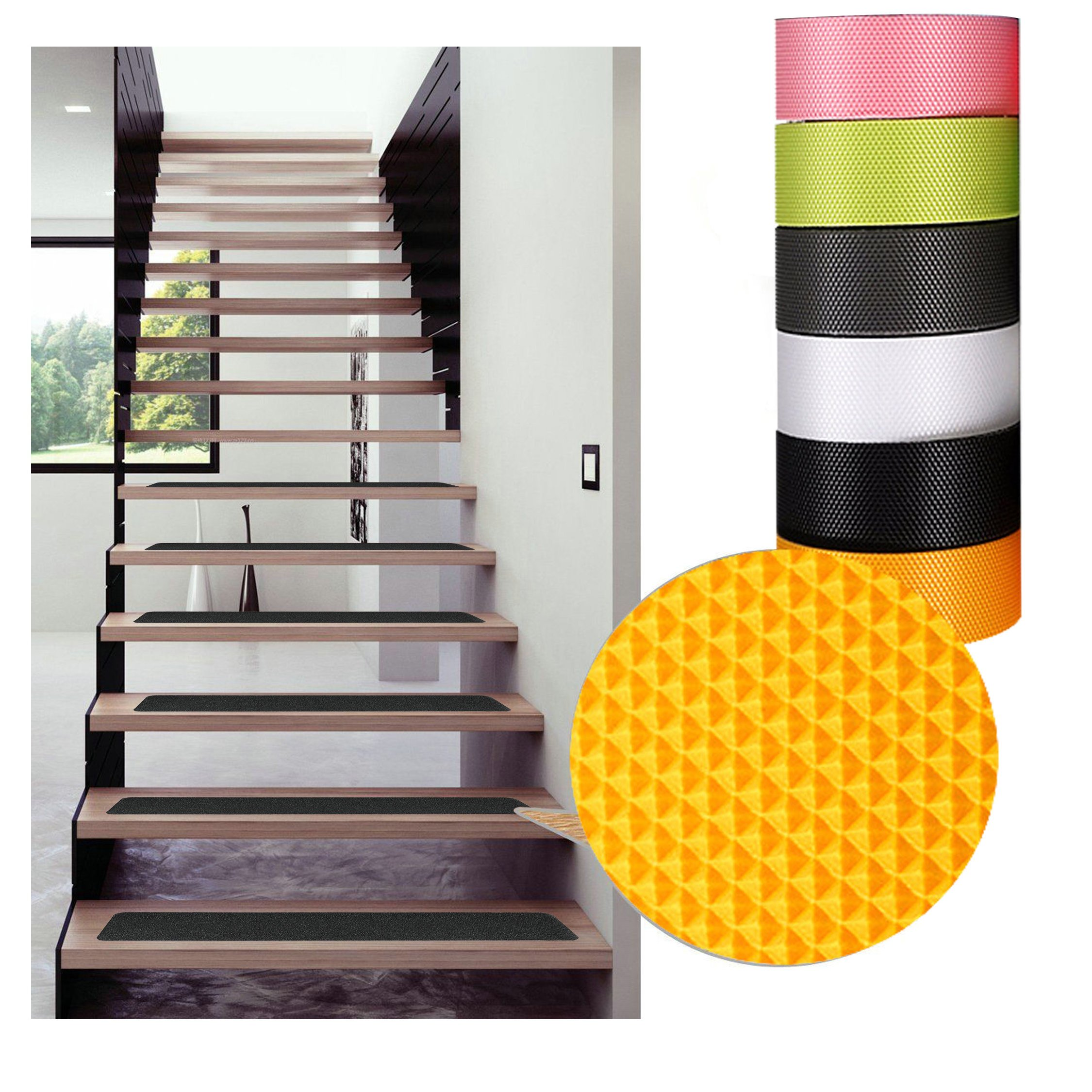 Black Anti Slip Safety Tape, Water Resistant High Traction Grip for Stairs, Steps, Boats, Garage, Ladders, Wear Resistant Strong Adhesive Rubberized Steady Treads Indoor Or Outdoor (2'' x16.4') by ZSAT (Image #5)