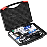 6-in-1 60W Soldering Iron Gun with Carry Case and Cleaning Sponge Stand, SOAIY Adjustable Temperature Welding Soldering Iron , Including 5pcs Different Soldering Tips, Desoldering Pump, Soldering Wire