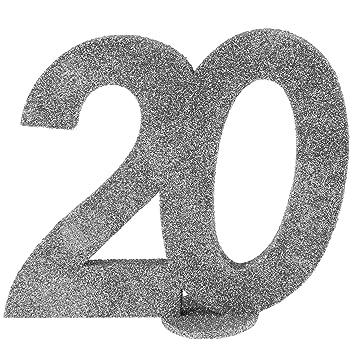 Cama24com Xxl Tischdeko Zahl 20 Geburtstag Silber Glitzer 1 Stuck