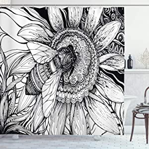 "Ambesonne Nature Shower Curtain, Bee on a Flower Honey Pollen Floral Mother Earth Phase Wildlife Digital Print, Cloth Fabric Bathroom Decor Set with Hooks, 70"" Long, White Black"