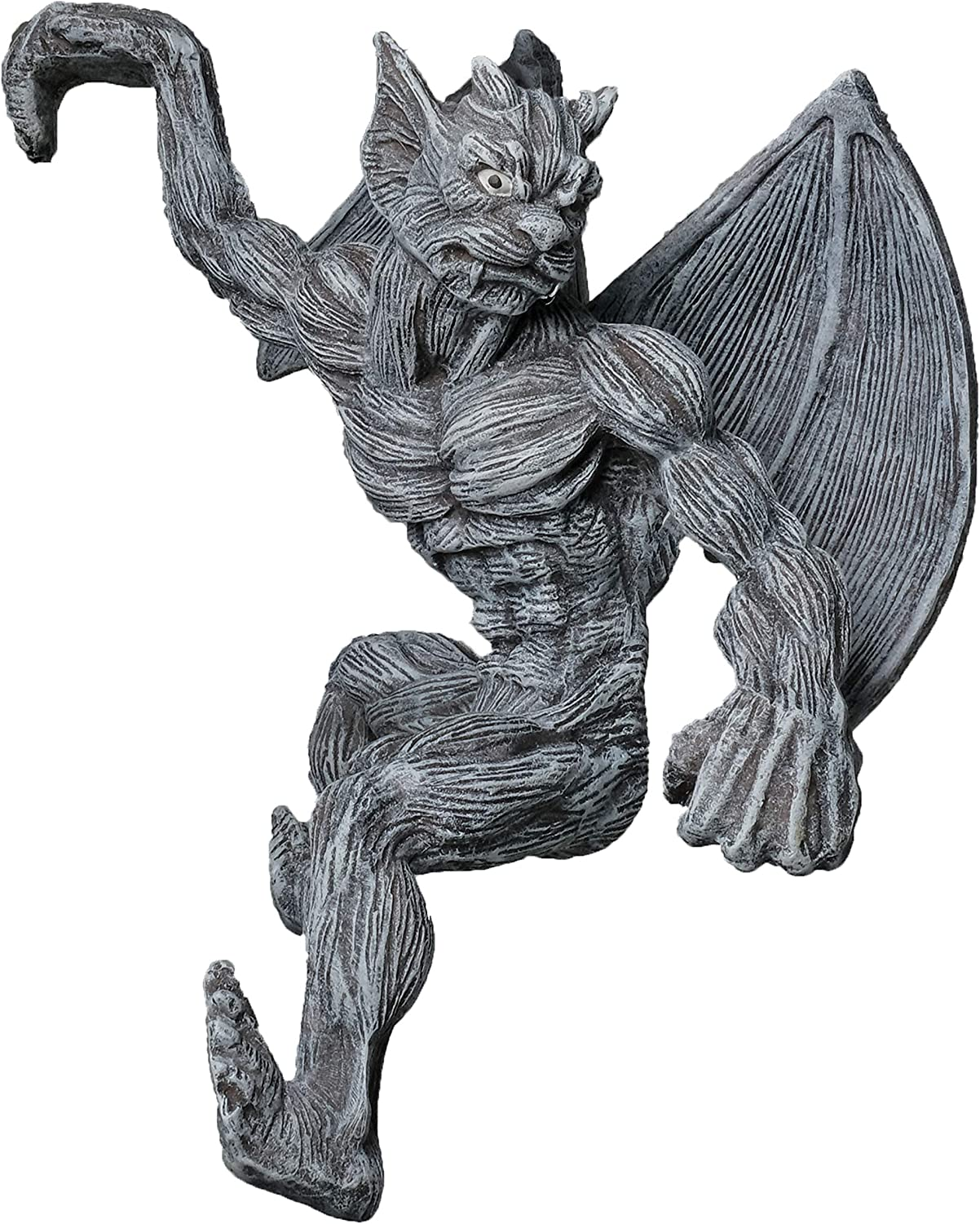 BELLA HAUS DESIGN Gargoyle Fence Topper Hanger- Outdoor Wall Decor- Detailed Hanging Garden Statue- Gothic Climbing for Patio, Porch, Fence, Garden
