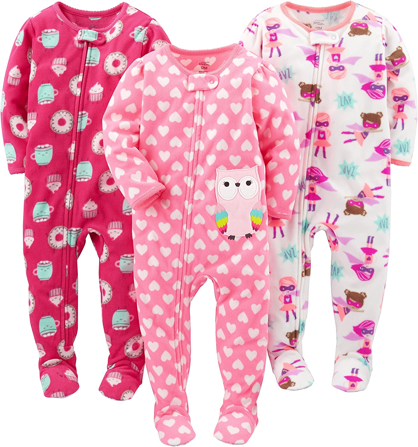 Pacco da 3 Simple Joys by Carters 3-Pack Loose Fit Flame Resistant Fleece Footed Pajamas Bimba 0-24