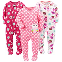 Girls' 3-Pack Loose Fit Flame Resistant Fleece Footed Pajamas