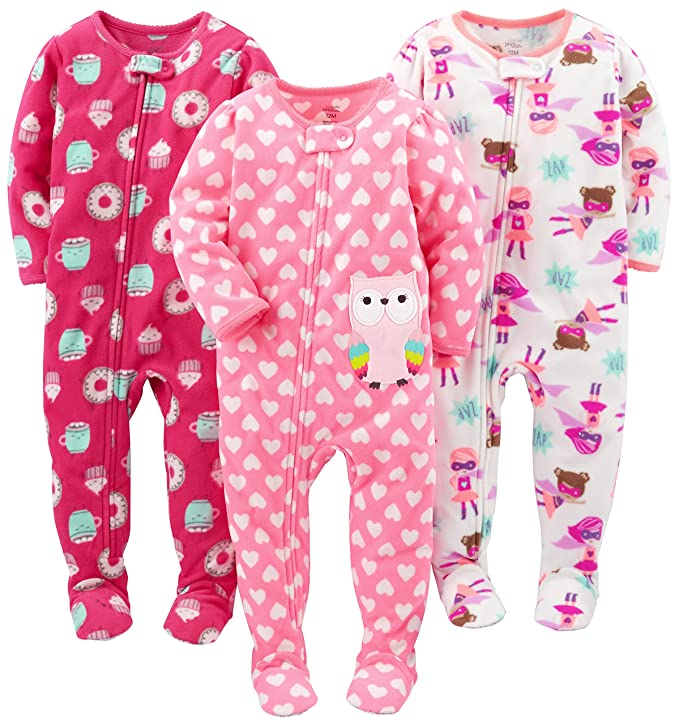 Simple Joys by Carter's Baby Girls' Toddler 3-Pack Flame Resistant Fleece Footed Pajamas, Superhero/Donut/Owl, 2T