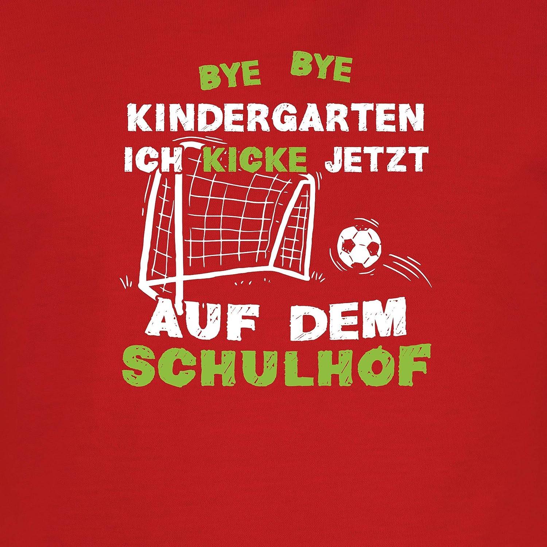 Kinder Tshirts und T-Shirt f/ür Jungen Einschulung und Schulanfang Bye Bye Kindergarten Einschulung Fu/ßball Shirtracer