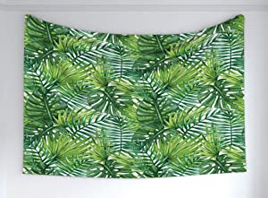 """Ambesonne Leaf Tapestry, Tropical Exotic Banana Forest Palm Tree Leaves Watercolor Design Image, Fabric Wall Hanging Decor for Bedroom Living Room Dorm, 60"""" X 40"""", Green"""