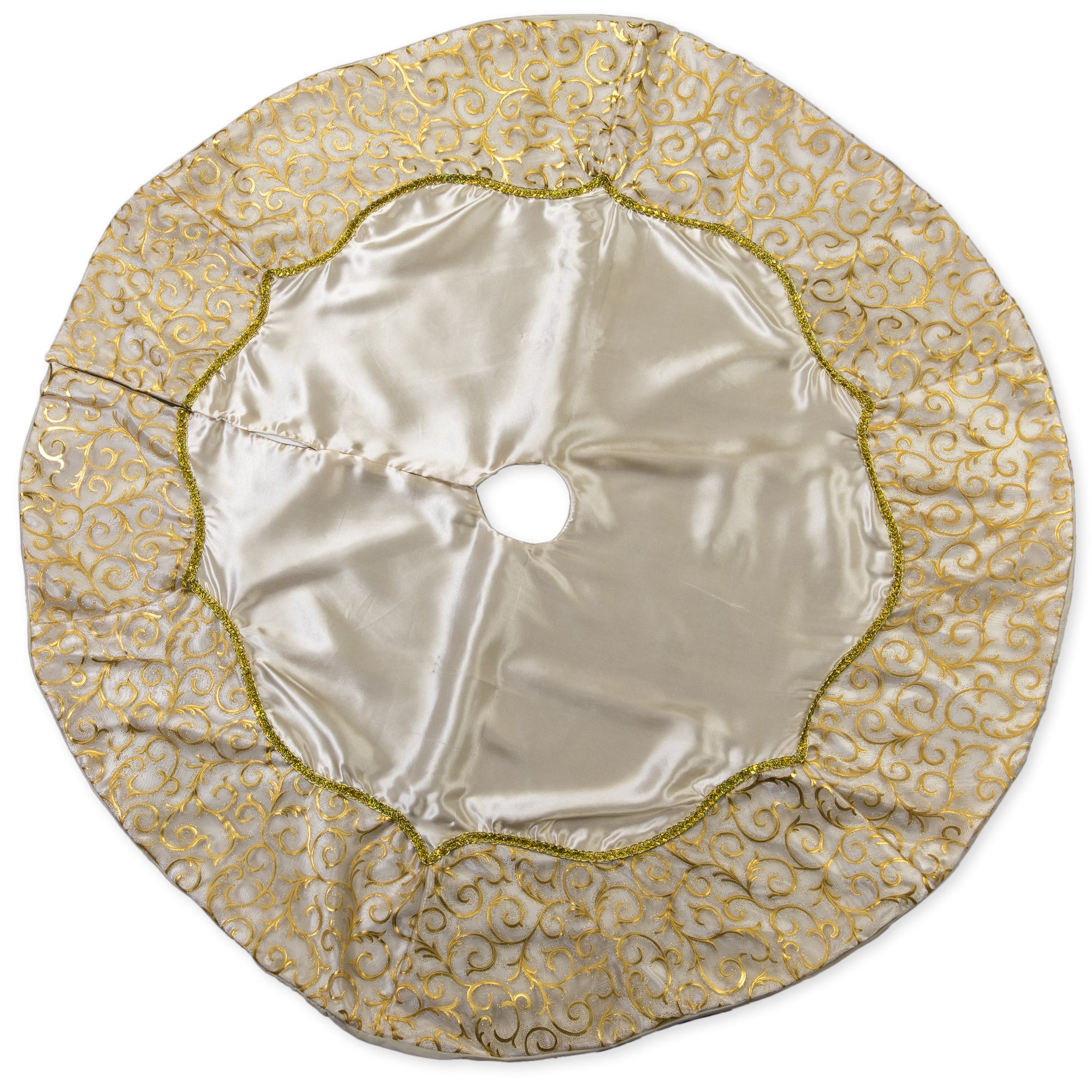48 inch Solid Gold Toned Plush Fabric Christmas Tree Skirt with Swirl Satin Trim