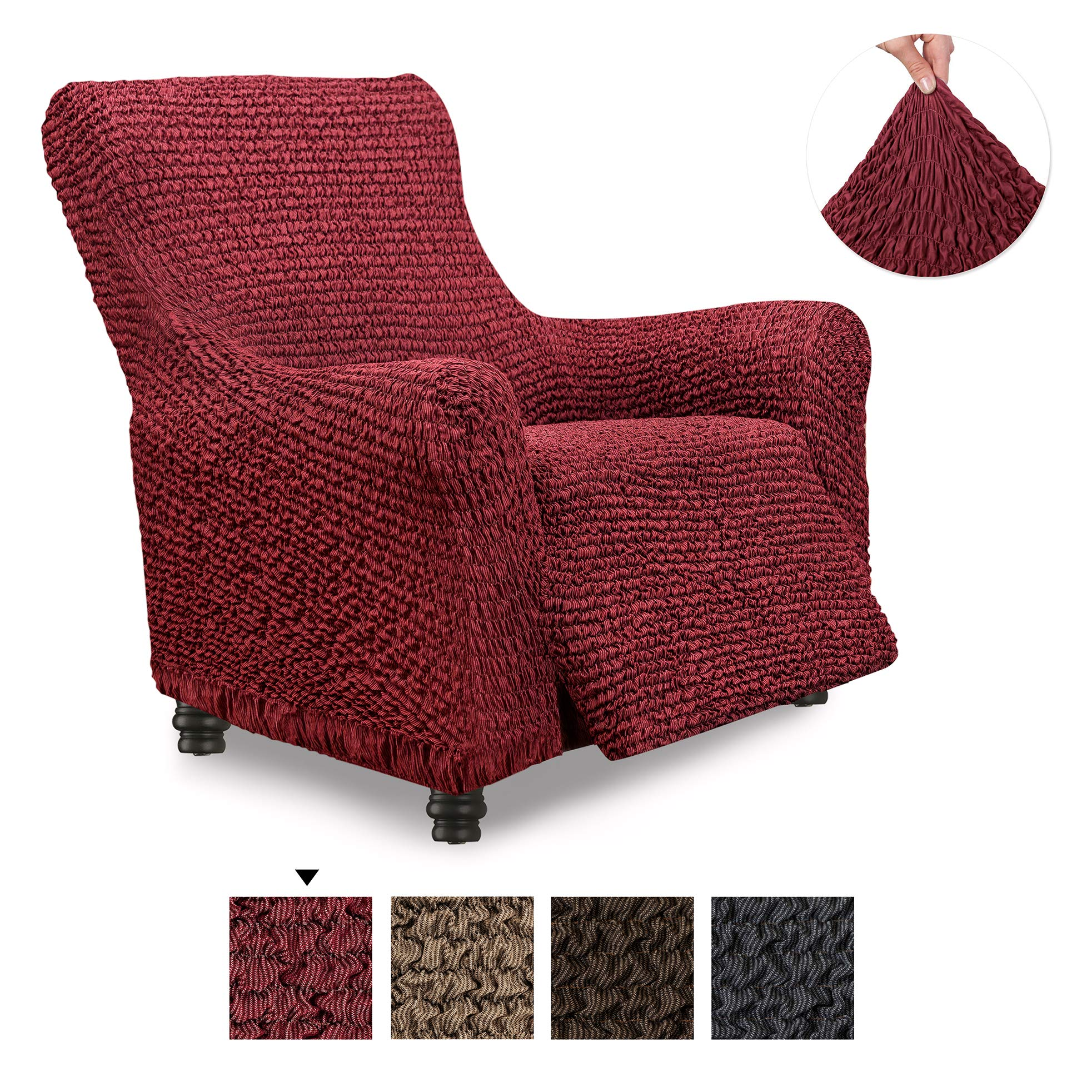 Recliner Cover - Recliner Chair Cover - Recliner Slipcover - Cotton Fabric Slipcover - 1-piece Form Fit Stretch Stylish Furniture Protector - Mille Righe Collection - Bordeaux (Recliner) by PAULATO BY GA.I.CO.