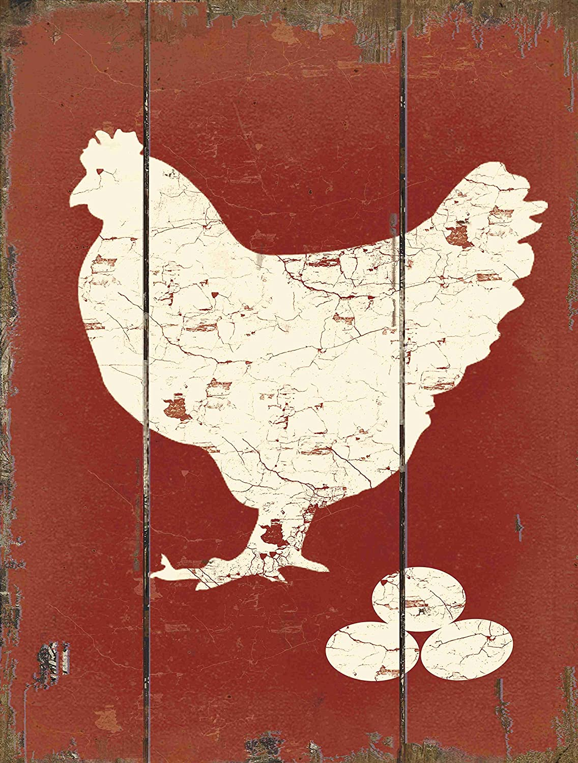 "Barnyard Designs White Hen Laying Fresh Eggs Retro Vintage Wood Plaque Bar Sign Country Home Decor 15.75"" x 11.75"""