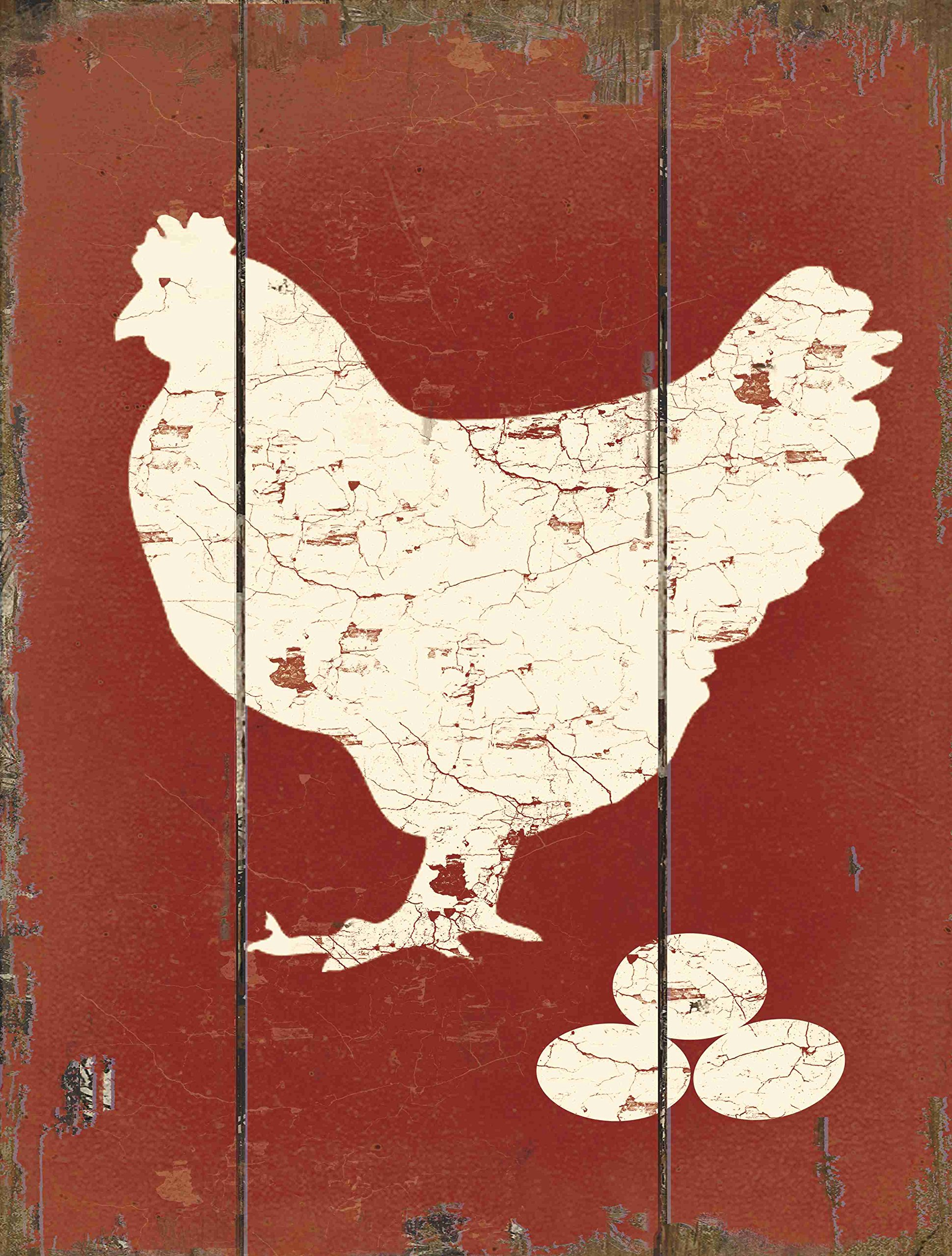 Barnyard Designs White Hen Laying Fresh Eggs Retro Vintage Wood Plaque Bar Sign Country Home Decor 15.75'' x 11.75''