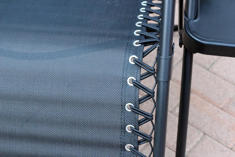 Jeco Black Oversized Zero Gravity Chair with Sunshade`Jeco Black Oversized Zero Gravity Chair with Sunshade