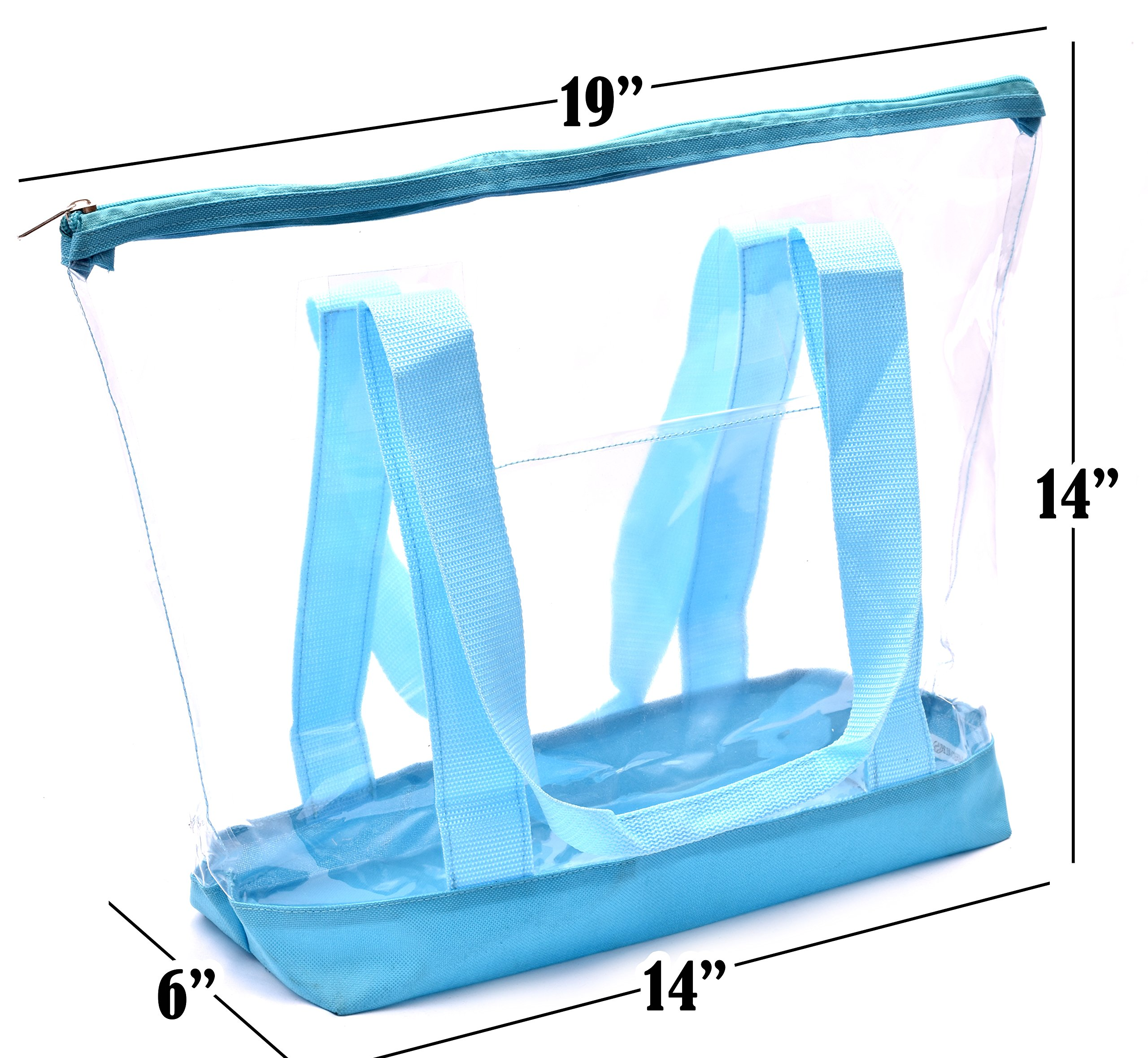 Clear Tote Bag - Top Zipper Closure, Long Shoulder Strap and Attractive Fabric Trimming. Perfect Transparent Travel Tote for all Places and Events where Clear Bags are Required. (Teal) by Handy Laundry (Image #3)
