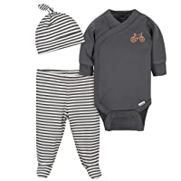 Grow by Gerber Baby Boy's Organic 3-Piece Onesies Bodysuit, Footed Pant, and Cap Set Pants, Grey/Ivory, 6-9 Months