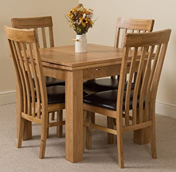 MODERN FURNITURE DIRECT Richmond Small Extending Solid Oak Dining Table 4  Solid Oak Leather Chairs 100