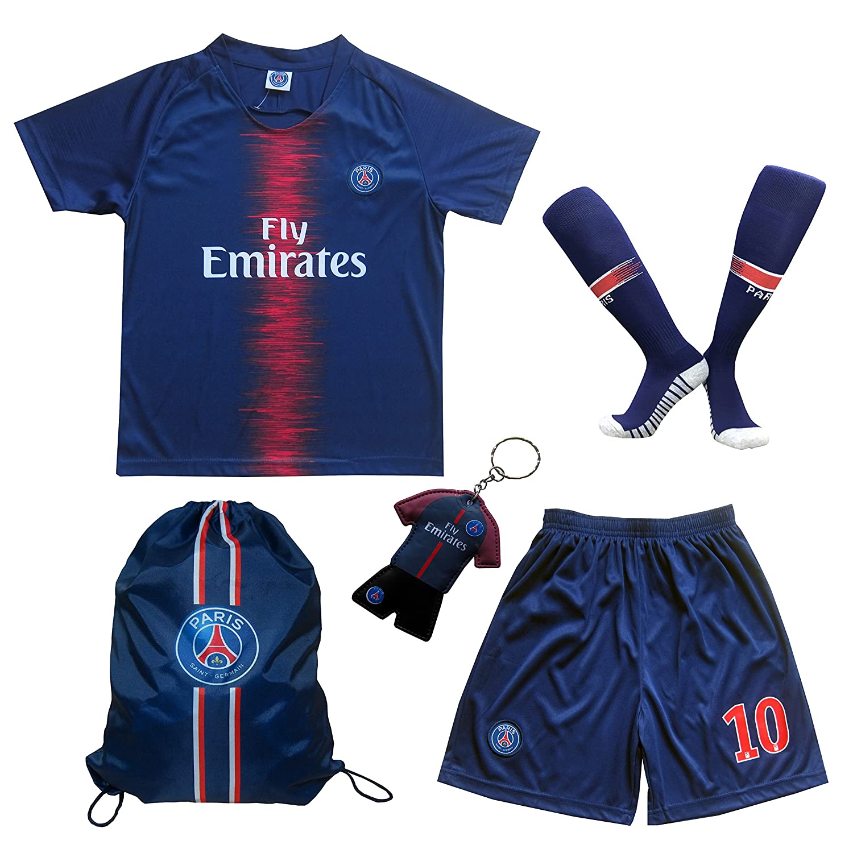 Football Futbol Soccer Kids Jersey Shorts Socks Set Youth Sizes LES TRICOT 2018//2019 Paris Home #10 NEYMAR JR