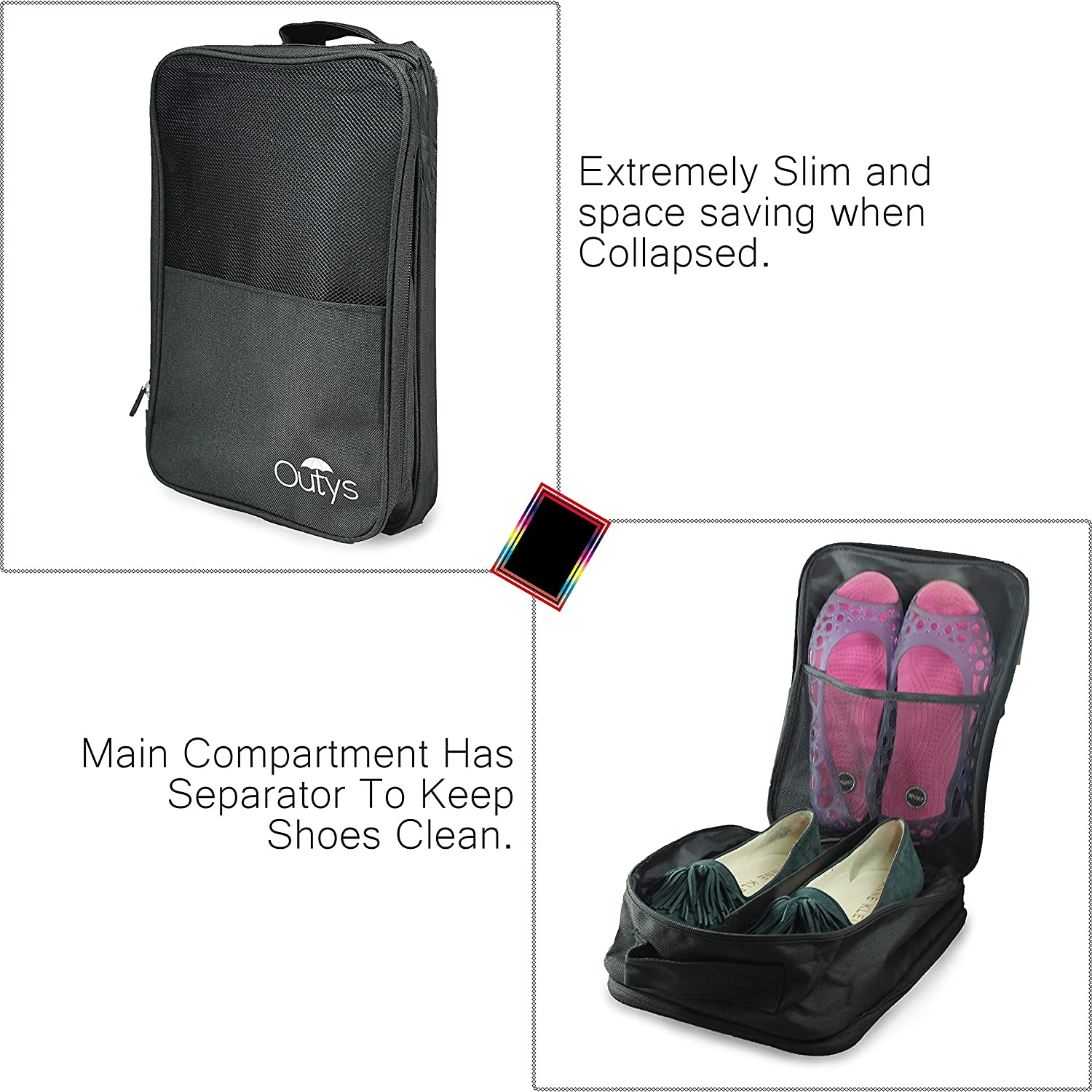 Shoe Travel Bag Organizer Waterproof Portable 3-Compartment Storage Packing Cube