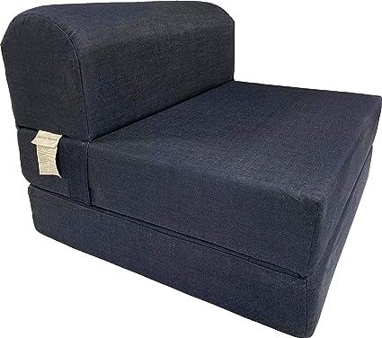 Amazoncom Dd Futon Furniture Denim Sleeper Chair Folding Foam Bed
