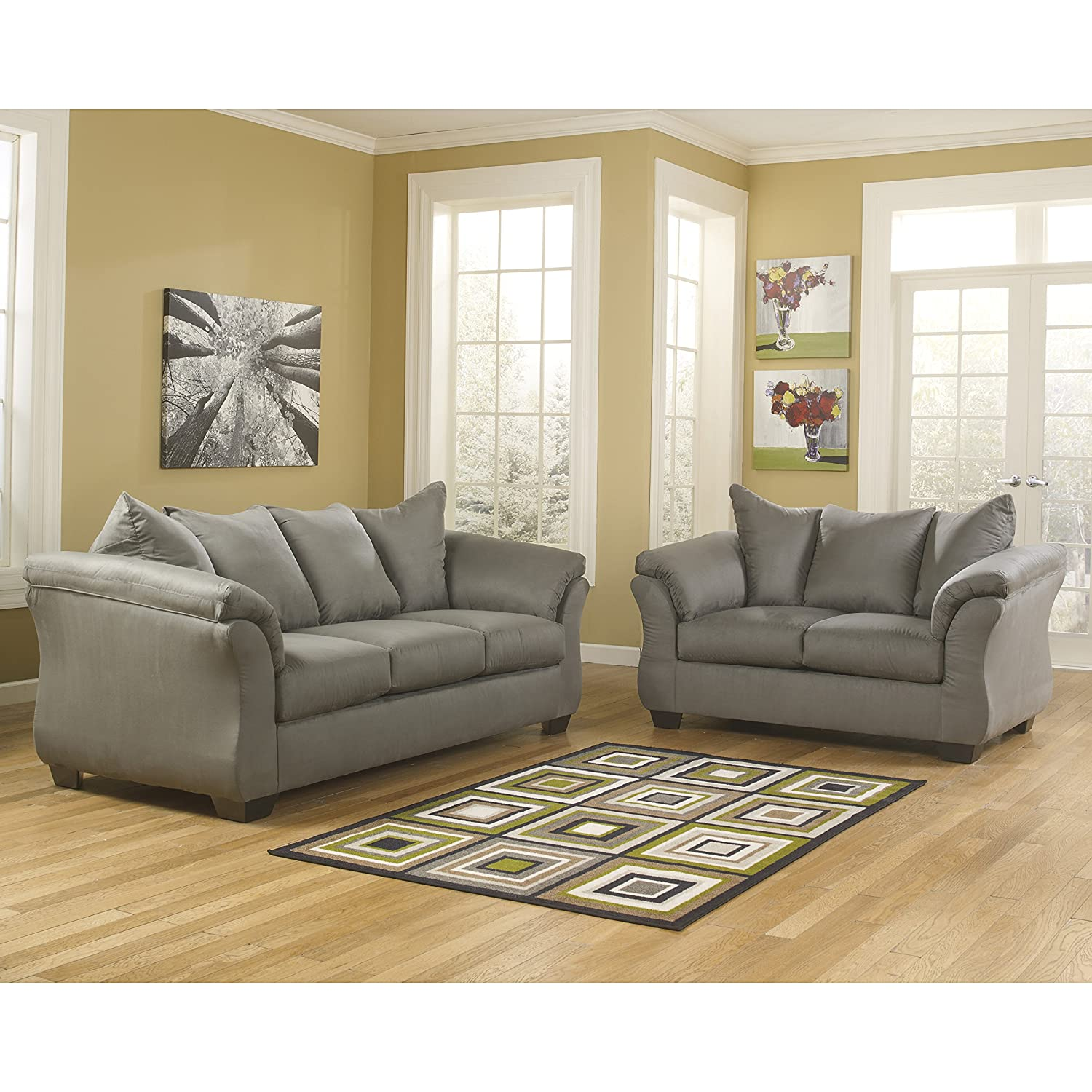 Amazon com flash furniture signature design by ashley darcy living room set in cobblestone microfiber kitchen dining