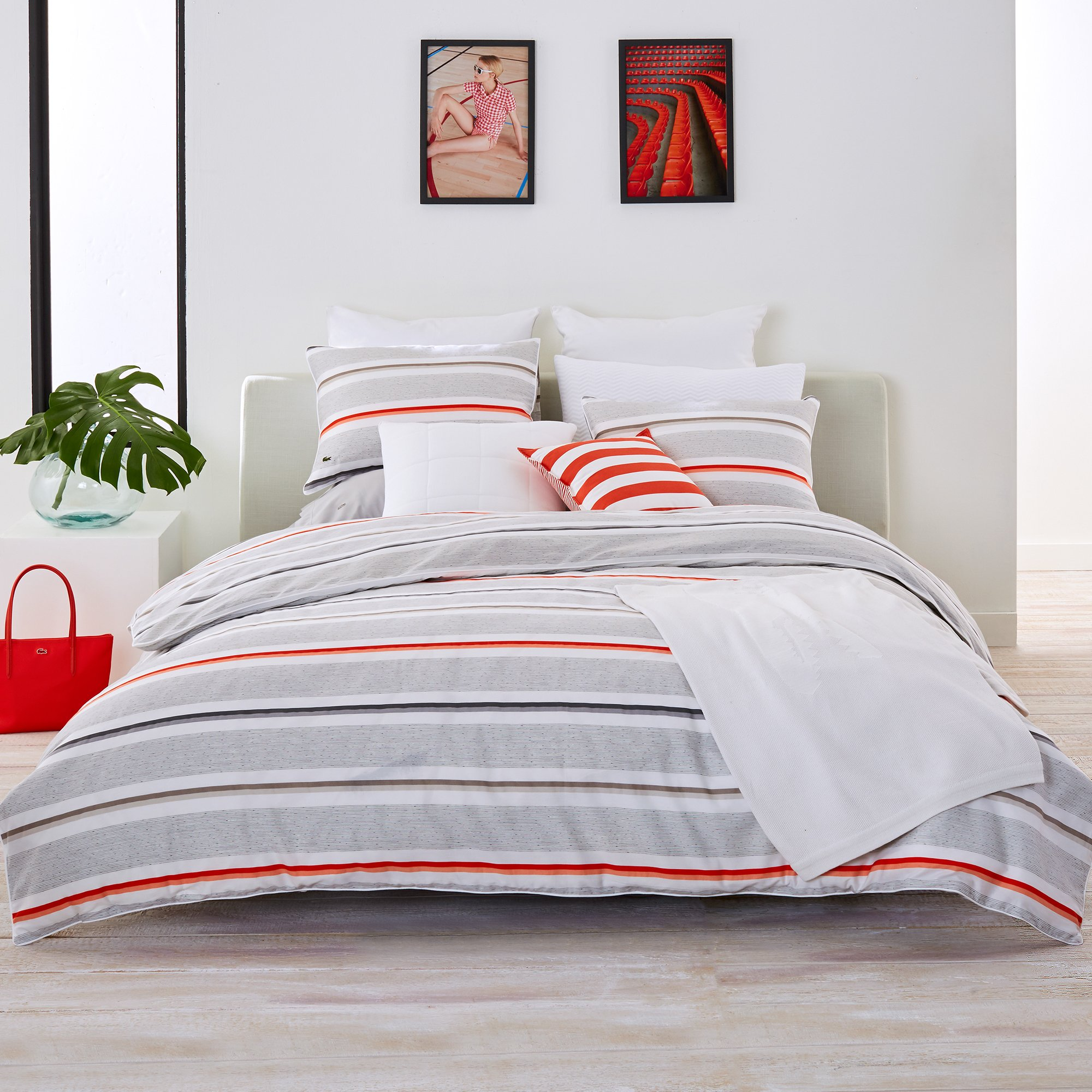 Lacoste Bastia Coral and Grey Striped Brushed Twill Comforter Set, Twin/Twin Extra Long by Lacoste