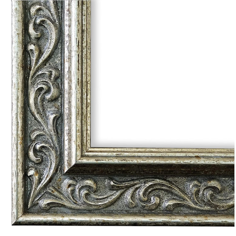 Online Galerie Bingold Bilderrahmen Silber 70x90-70 x 90 cm - Antik, Barock - Alle Größen - Handgefertigt in Deutschland - LR - Verona 4,4