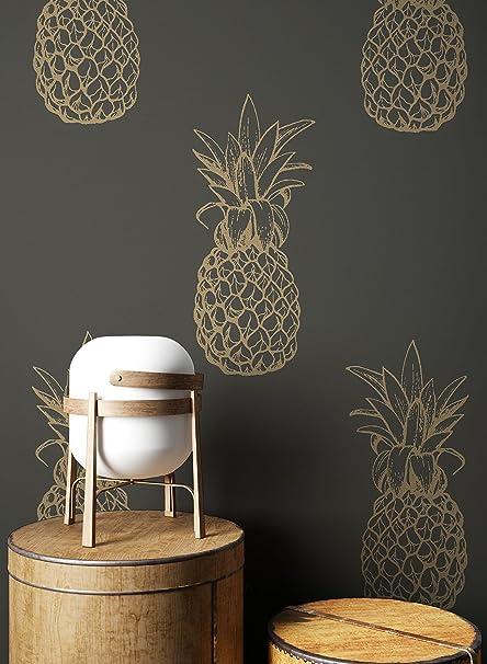 Newroom Wallpaper Grey Pineapple Modern Paper Silver Pflanzen