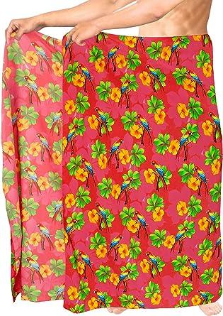 LA LEELA Sarong Pareo de los Hombres Traje de baño Encubrimiento Beachwear del Traje de baño de Color Rosado Hawaiano Traje