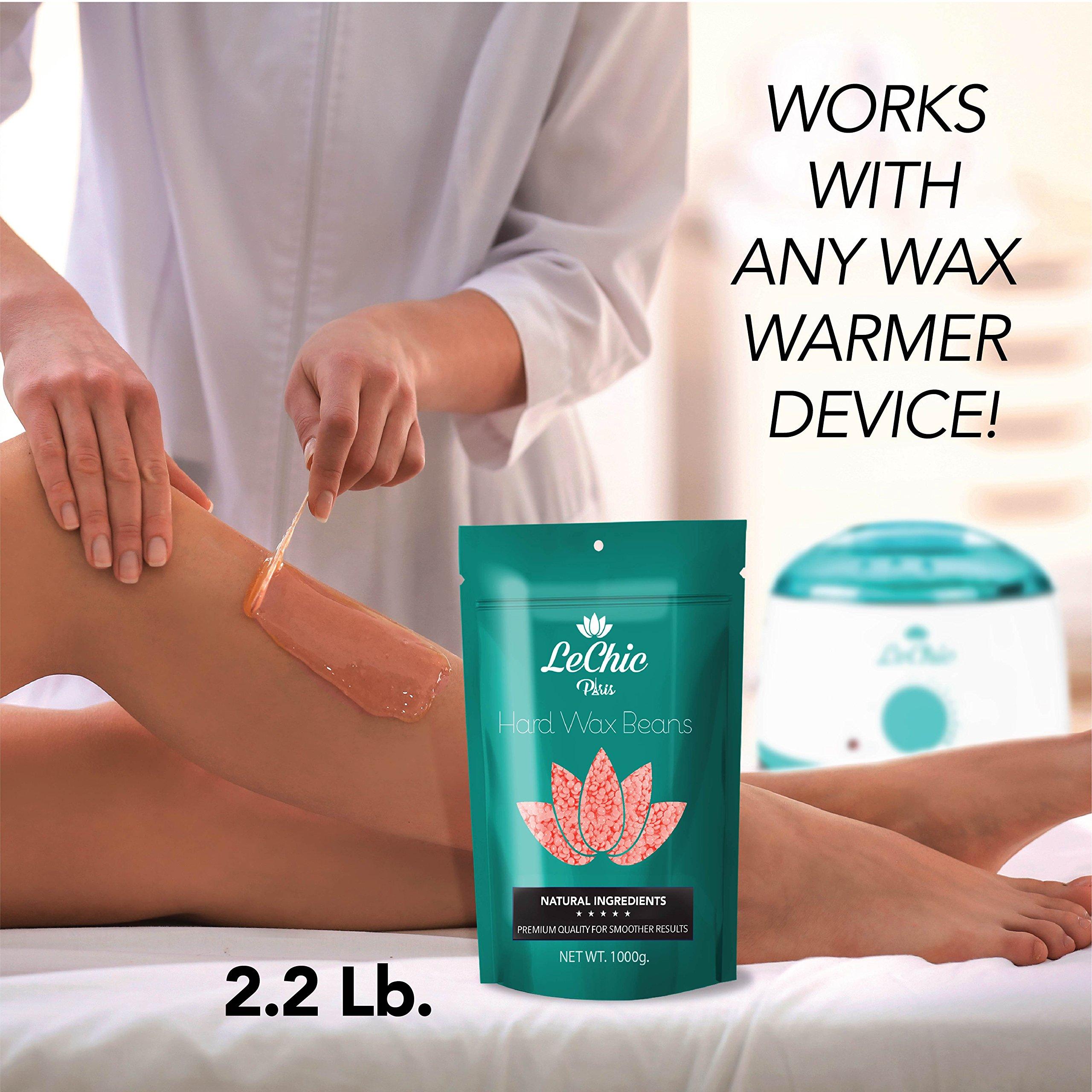 Wax Beans - Hard Wax Beans for Hair Removal - Brazilian Bikini Waxing - Pearl Wax - MEGA REFILL 35 oz. bag (2.2 LB) for Sensitive Body Skin by LeChic by LeChic (Image #3)