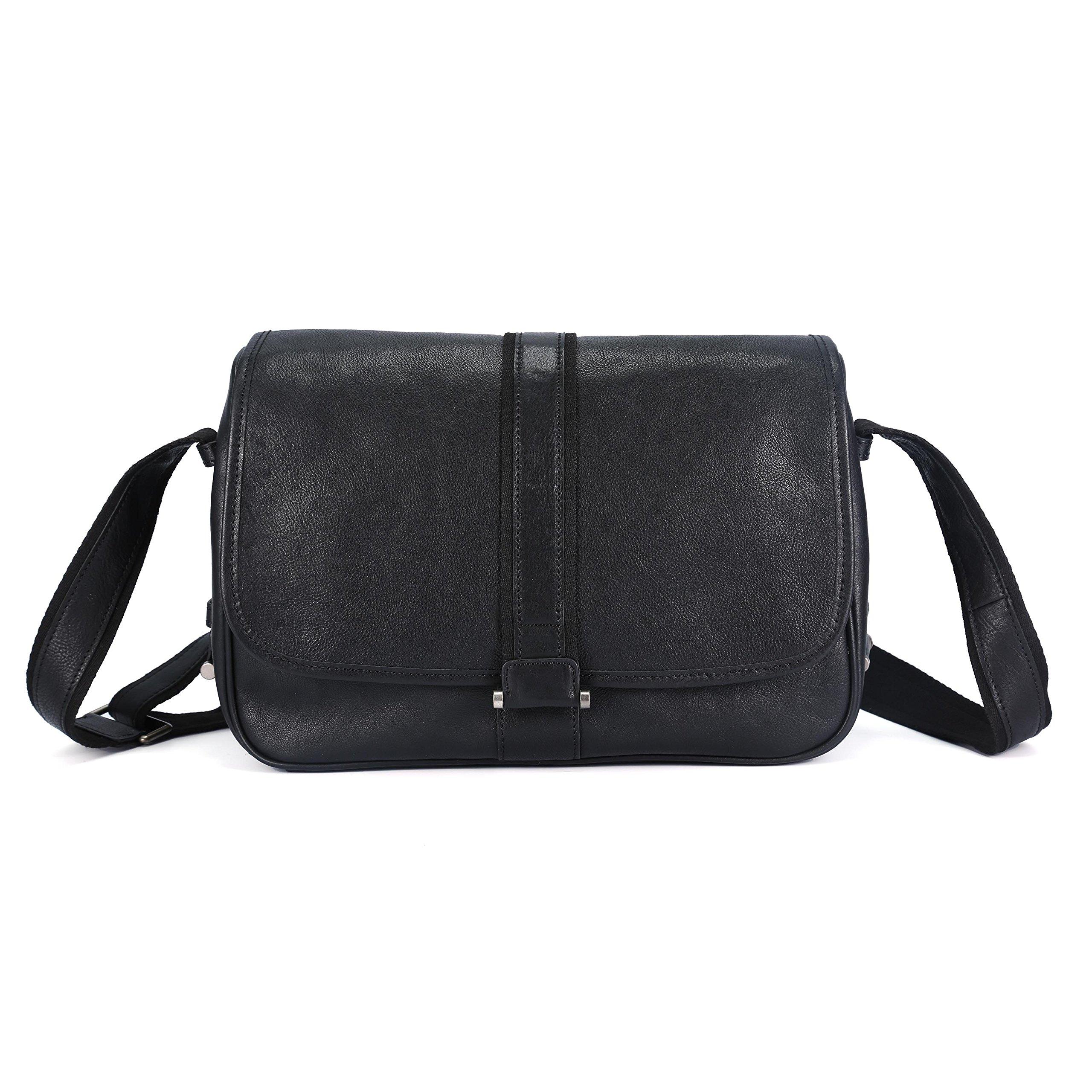BAIGIO Leather Crossbody Messenger Bag Shoulder Tablet Handbag Vintage Briefcase for Men/ Women (Black)