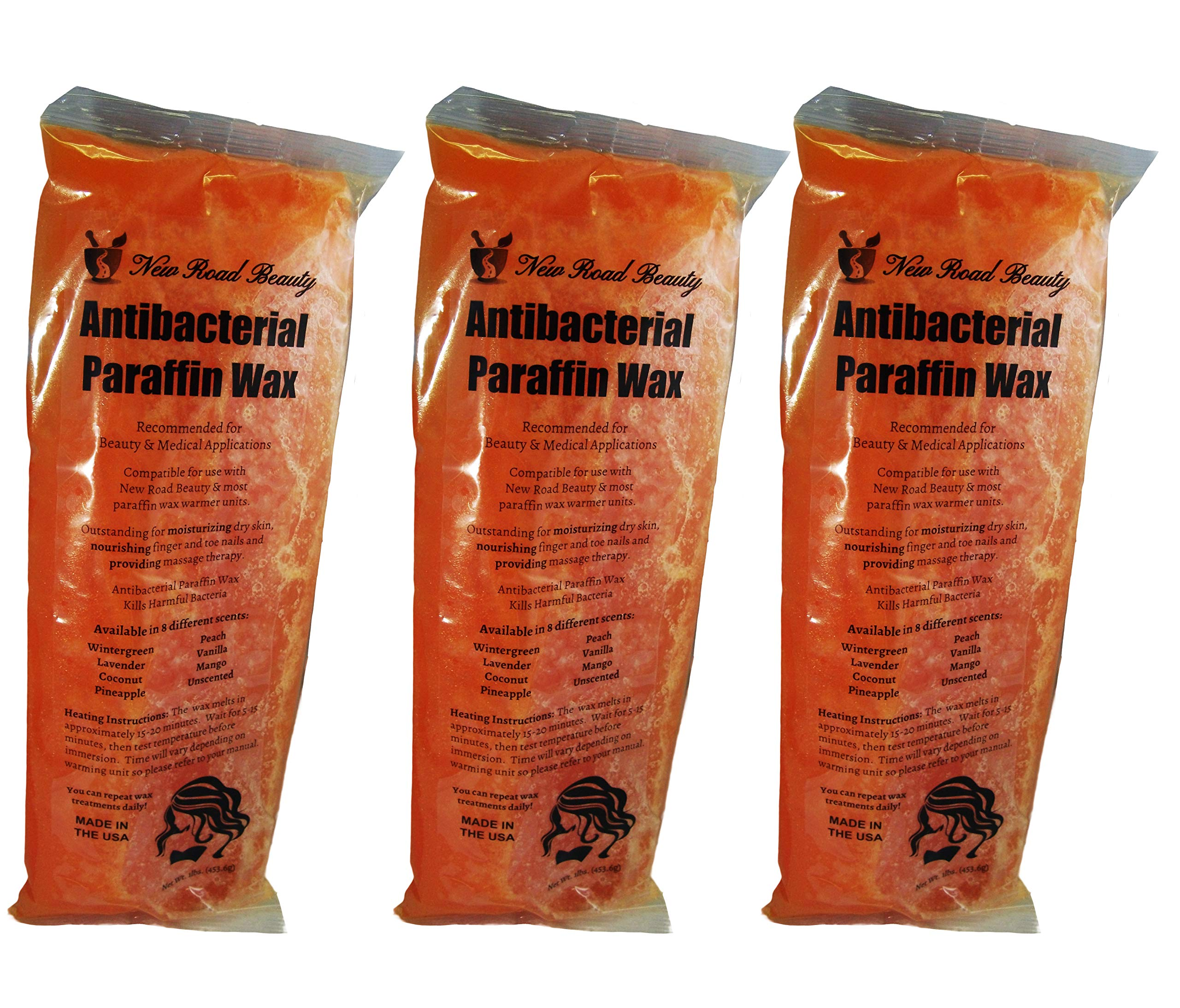 New Road Beauty Antibacterial Orange Peach Paraffin Wax - Moisturize and Smooths Skin - Nourishing and Provides Massage Therapy - Pack of 3 by New Road Beauty