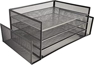 Halter Office Desk File Organizer, File Organizer, Multiple Functional Compartments, Durable Stainless Steel Mesh, Great for Office and Home (4-Tier, 2-Sided File Organizer)