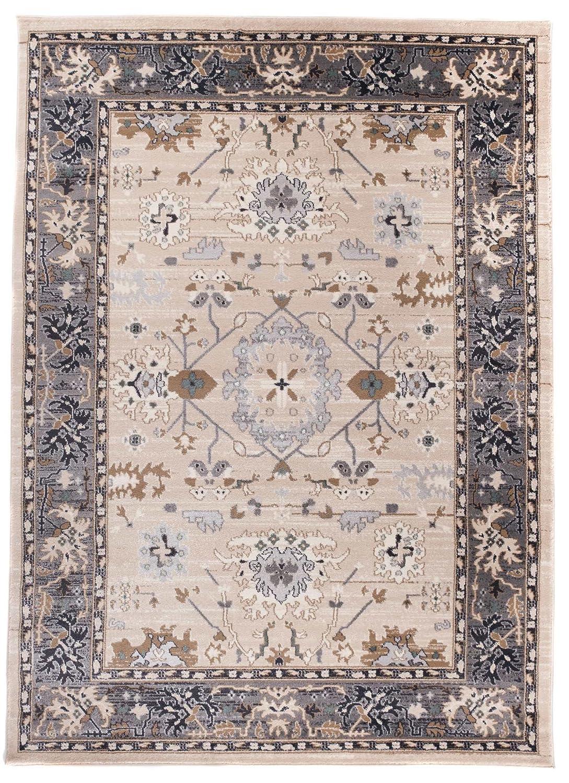 We Love Rugs - Carpeto Traditioneller Klassischer Teppich für Ihre Wohnzimmer - Grau Beige - Perser Orientalisches Muster - Ornamente Kelim - Top Qualität Pflegeleicht AYLA 140 x 200 cm Groß