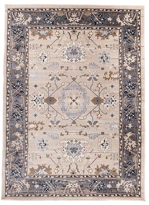 Grande Tapis d\'Orient - GRIS BLANC - Motif Persan Traditionnel et Oriental  - Tapis de Salon Ultra Doux - \