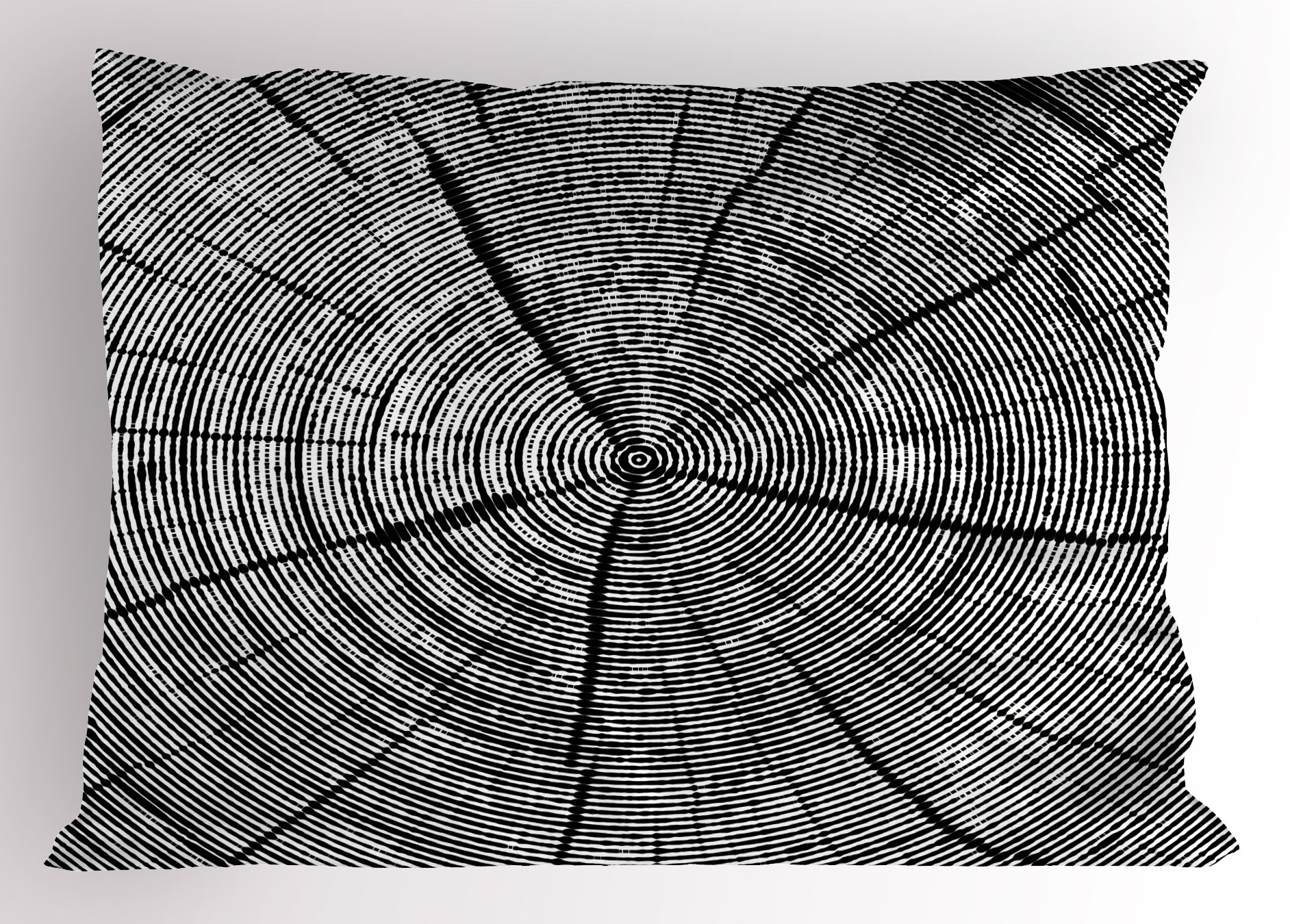 Lunarable Wood Print Pillow Sham, Sketch of a Tree Trunk with Age Rings Nature Inspired Monochrome Design, Decorative Standard King Size Printed Pillowcase, 36 X 20 inches, Black and White
