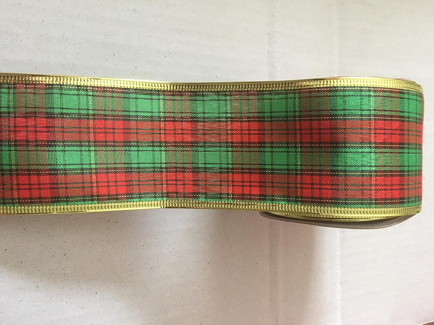 10 yds x 60mm Tartan Ribbon with Gold Wired Edge Gold. red and green - Christmas Weddings Occasions FS
