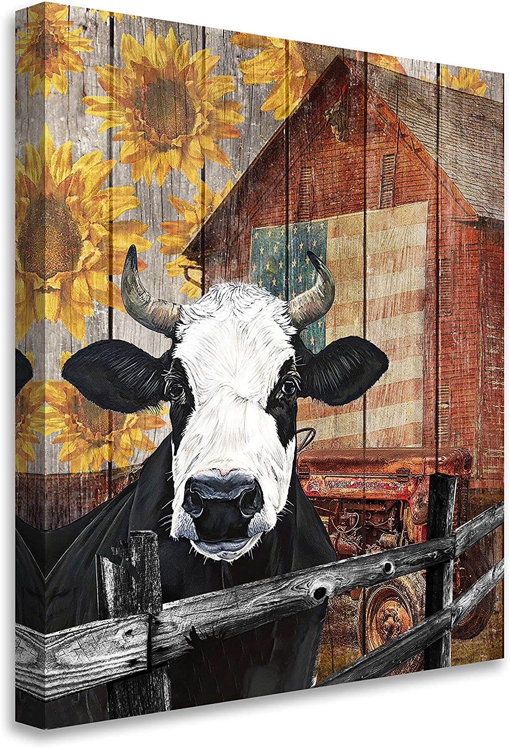 Rustic Funny Farm Cow Sunflower Prints Canvas Wall Art For Living Room Farmhouse Cow Paintings Wall Art Contemporary Art Decor Home Decoration Giclee Artwork Stretched And Framed Ready To Hang 11x14 Inch
