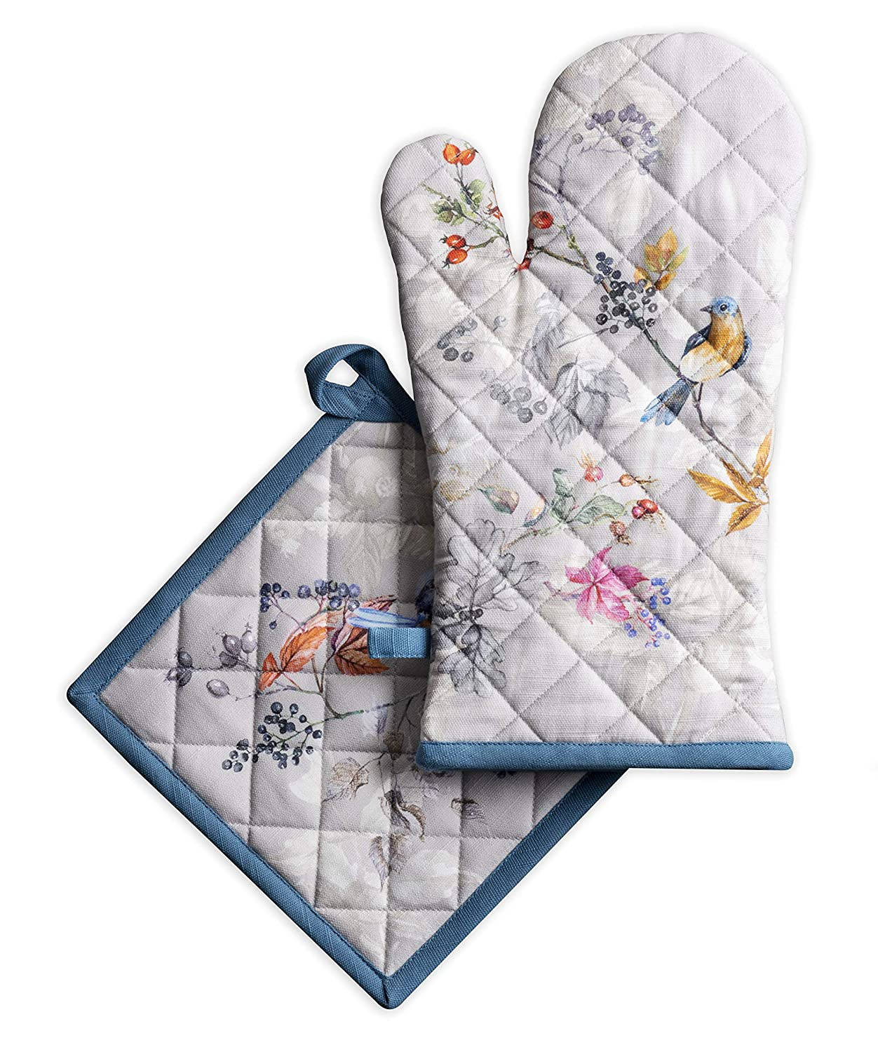 Maison d' Hermine Equinoxe 100% Cotton Grey Set of Oven mitt (7.5 Inch by 13 Inch) and Pot Holder (8 Inch by 8 Inch). Perfect for Thanksgiving and Christmas