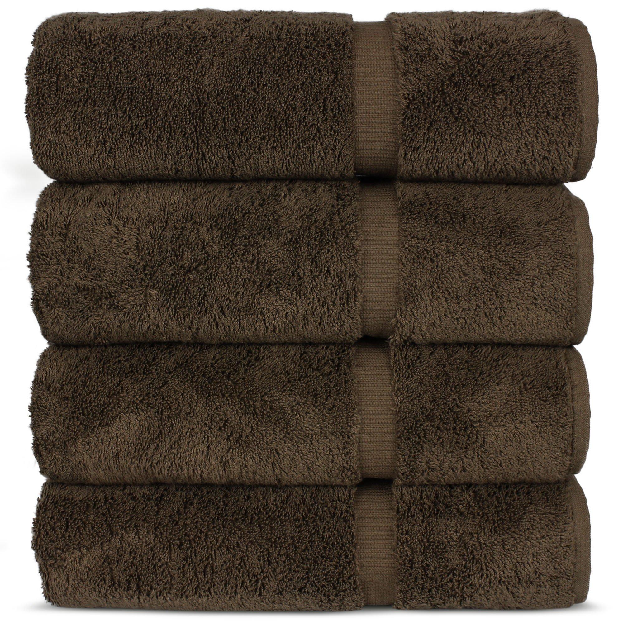 Luxury Premium long-stable Hotel & Spa Turkish Cotton 4-Piece Eco-Friendly Bath Towel Set (Cocoa)