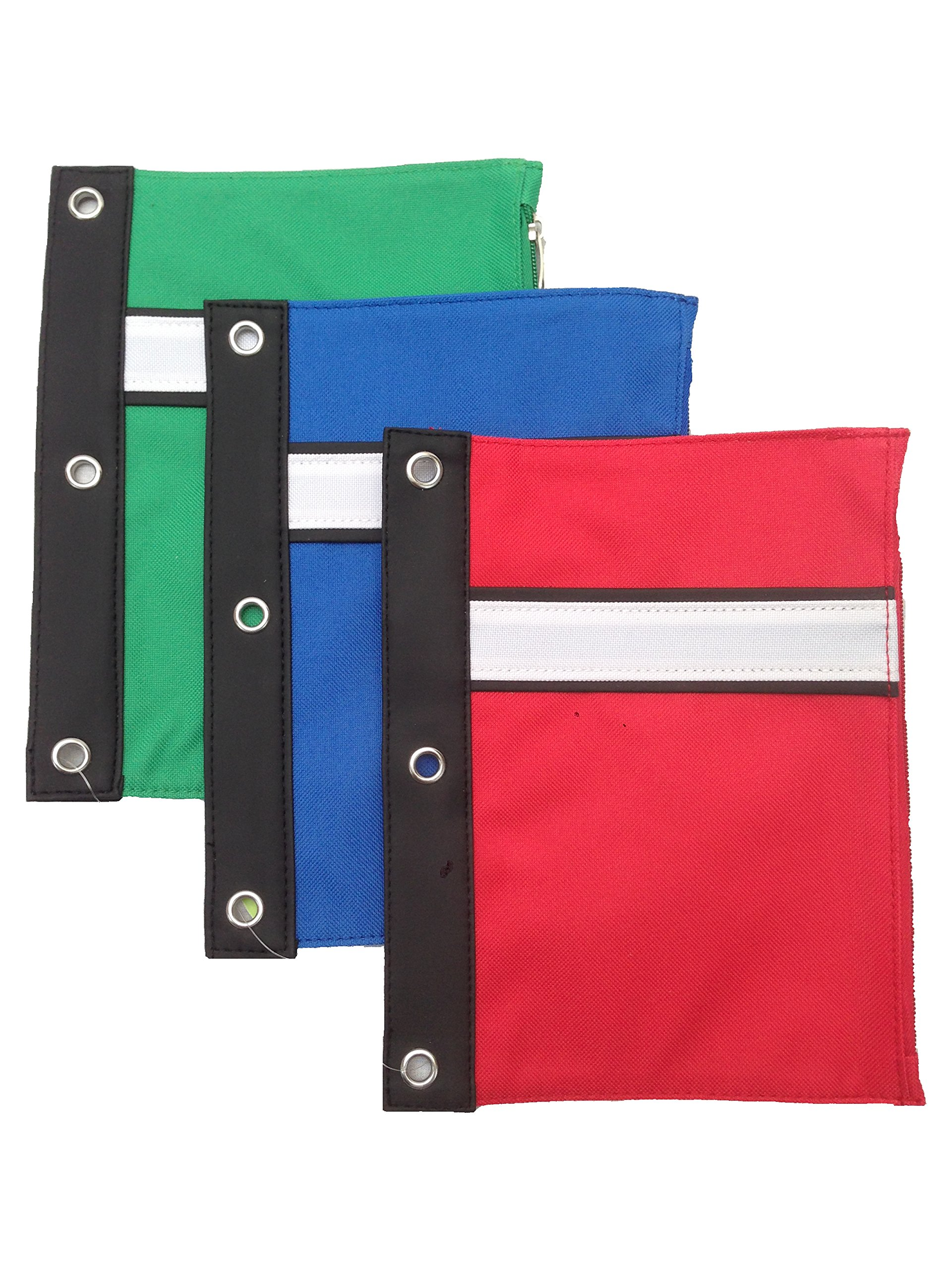 Large 3-Ring Binder Pen Pouch with Soft Vinyl Binding for Office or School Use - Assorted Colors (Blue Red Black Green) (12 Pack)