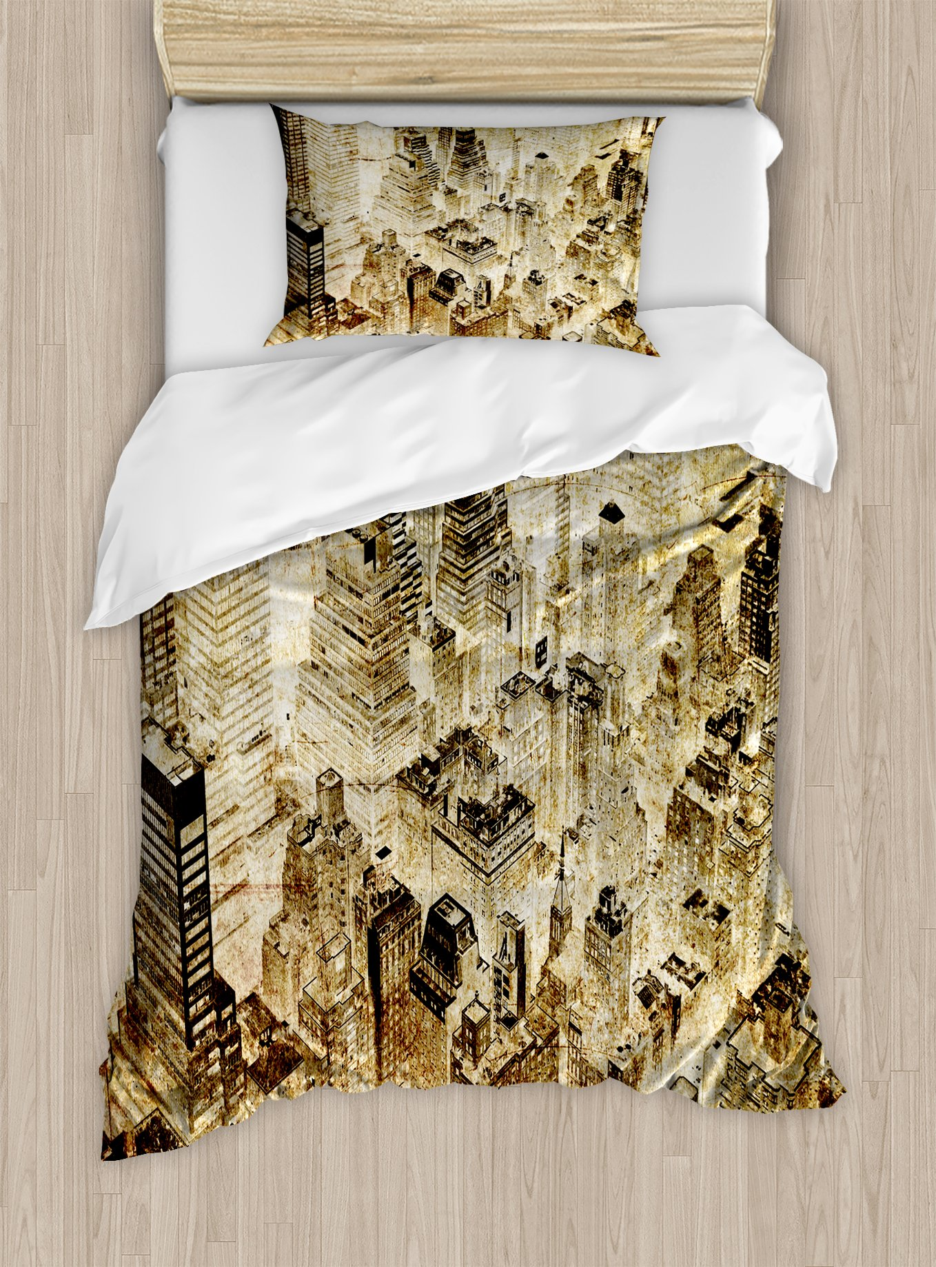 Ambesonne Vintage Duvet Cover Set Twin Size, High Buildings Night Luminous United States of America City Vibrant Alive Town Photo, Decorative 2 Piece Bedding Set with 1 Pillow Sham, Yellow