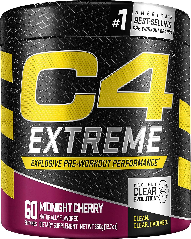 Cellucor C4 Extreme Pre Workout Powder Midnight Cherry | Sugar Free Preworkout Energy Supplement for Men & Women | 200mg Caffeine + beta Alanine + Creatine | 60 Servings