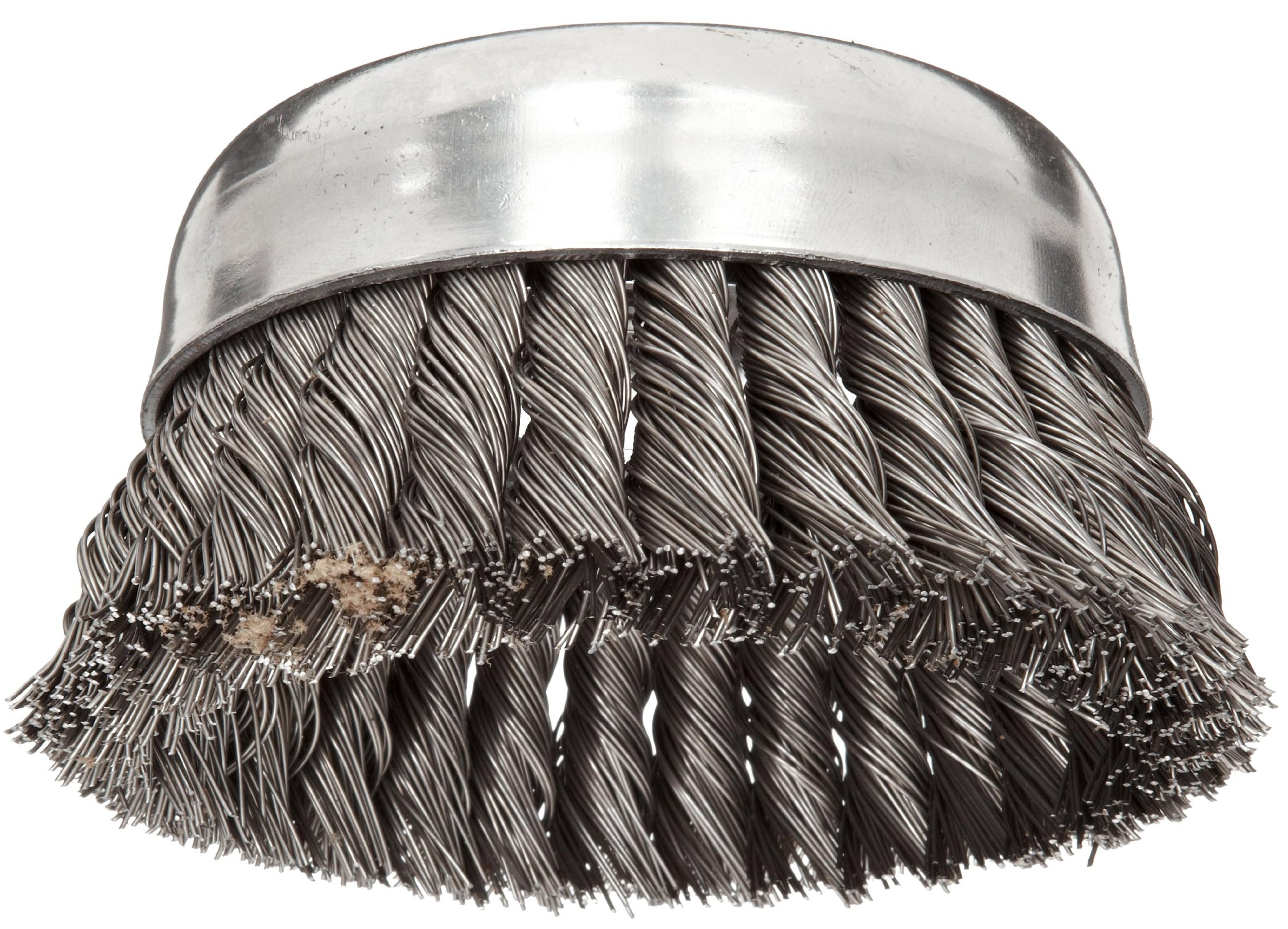 Weiler Wire Cup Brush, Threaded Hole, Steel, Partial Twist Knotted, Single Row, 5'' Diameter, 0.023'' Wire Diameter, 5/8''-11 Arbor, 1-3/8'' Bristle Length, 7000 rpm (Pack of 1)