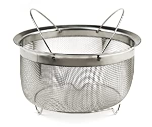 RSVP Endurance Stainless Steel Mesh Basket with Folding Handles, fits Instant Pot