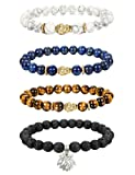 Amazon Price History for:Thunaraz 4pcs 8MM Unisex Buddha Bracelets Lava/Tiger Eye/ Lapis/Turquoise Energy Stone Mala Beads with Lotus Charm