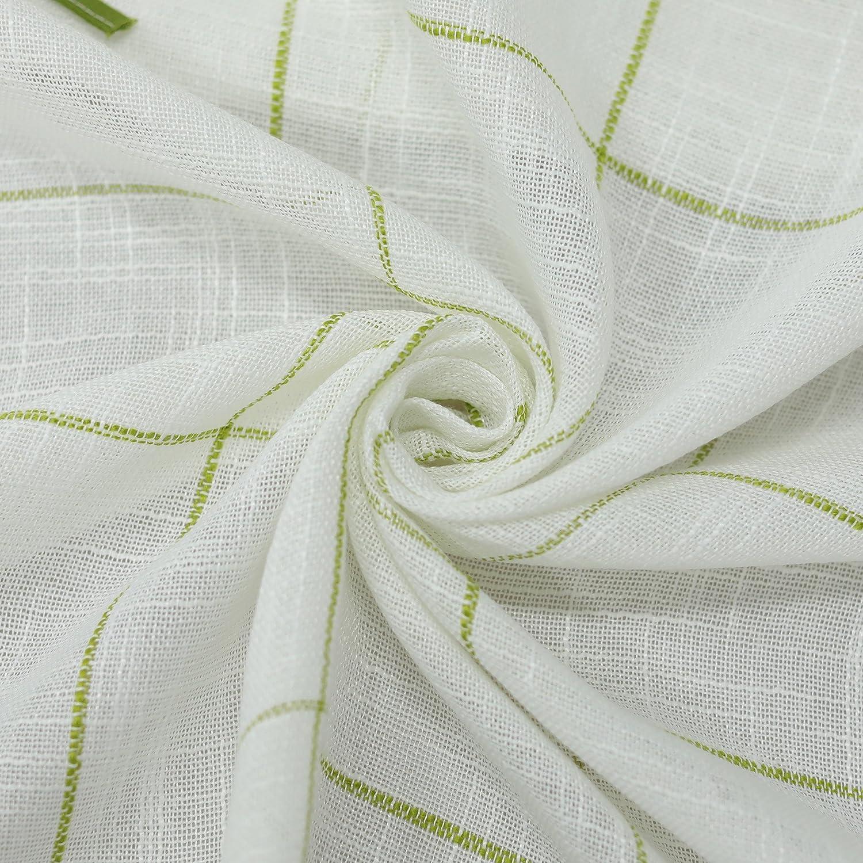 1 Pezzo Yujiao Mao Tenda a Pannello in Filato di Lino Pastorale Stile bistr/ò Tessuto BxH 90x45cm Verde