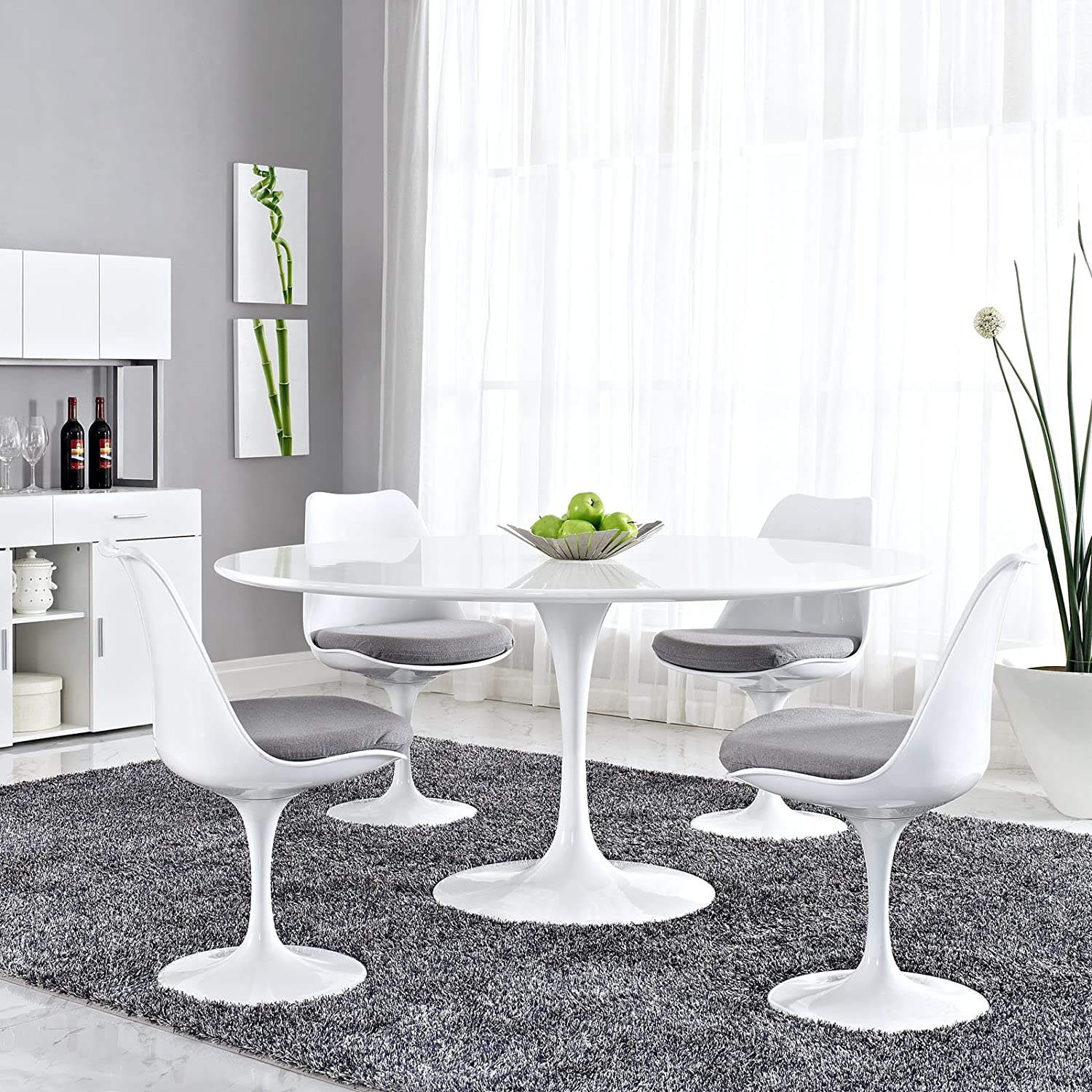 "Amazon Modway Lippa 60"" Wood Top Dining Table in White"