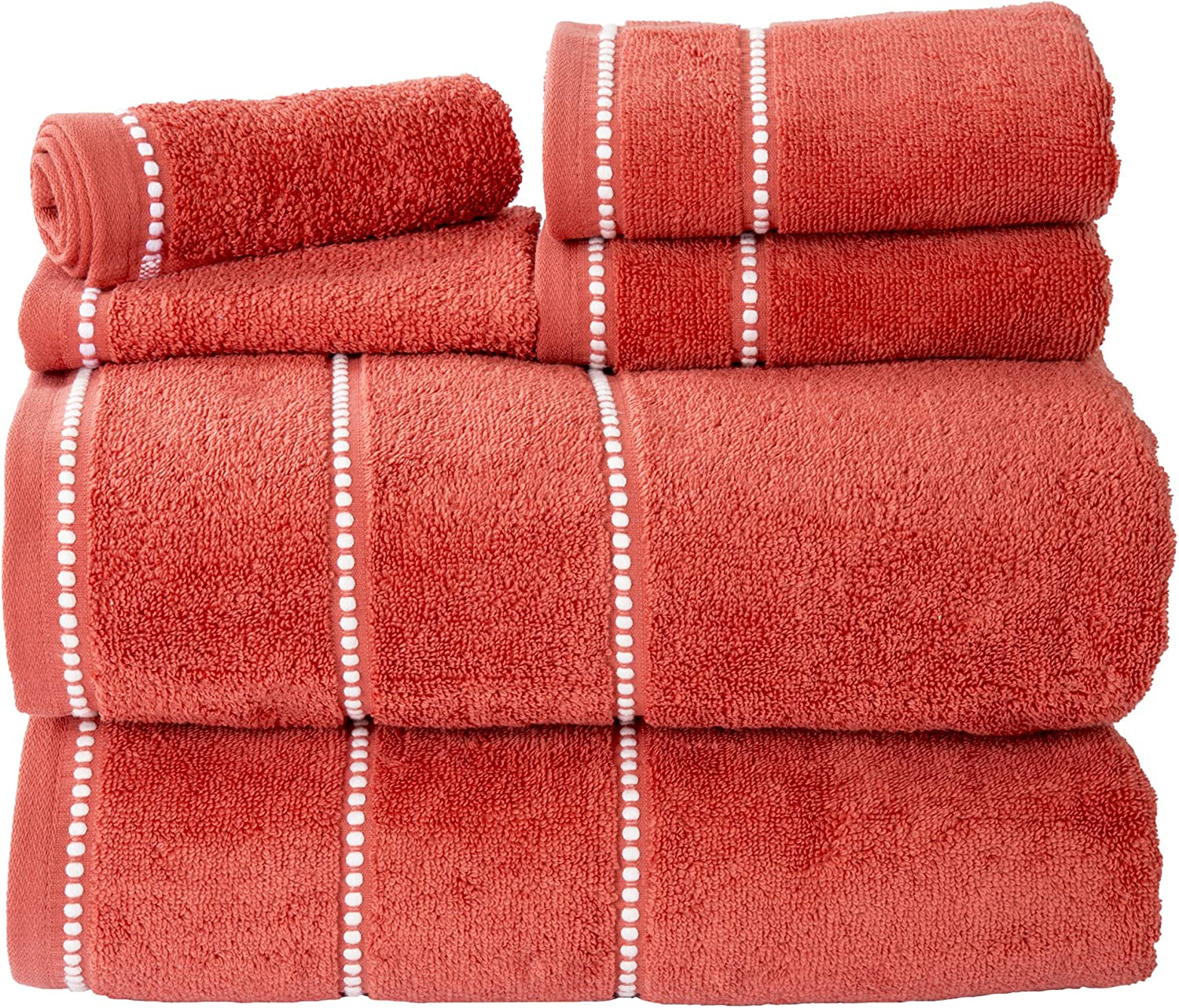 Luxury Cotton Towel Set- Quick Dry, Zero Twist and Soft 6 Piece Set With 2 Bath Towels, 2 Hand Towels and 2 Washcloths By Lavish Home (Brick / White)