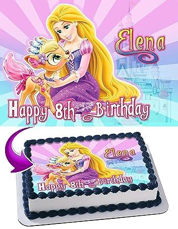 Rapunzel Edible Cake Topper Personalized Birthday 1 4 Sheet Decoration Custom Party Sugar