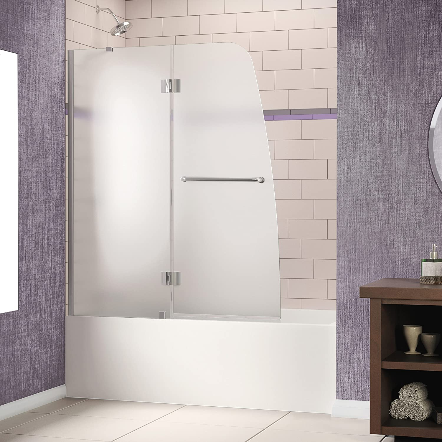 DreamLine Aqua 48 In. Frameless Hinged Tub Door, Frosted 1/4 In. Glass  Door, Chrome Finish, SHDR 3148586 01 FR1   Shower Doors   Amazon.com