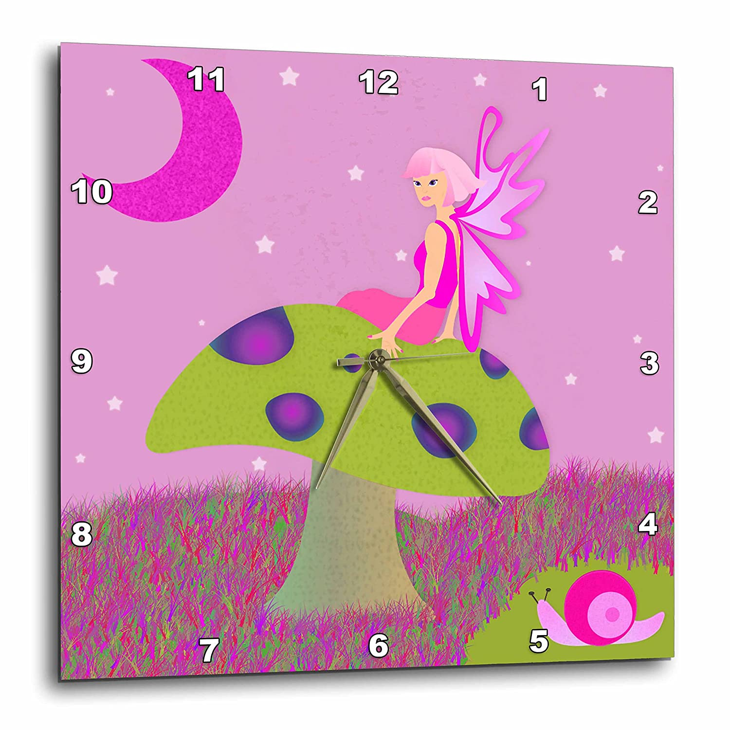 3dRose dpp_24676_2 Cute Fairy Princess Girl on Toadstool with Snail Pink-Wall Clock, 13 by 13-Inch
